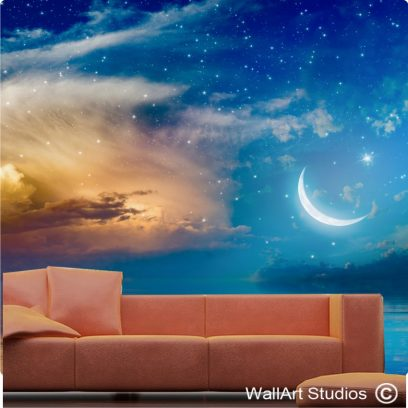 WP15 crescent, stars & glowing clouds above serene sea.
