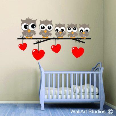 Owls & hearts Wall Sticker