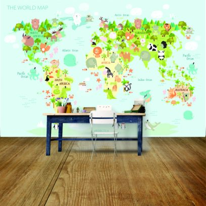 World map for kids wall mural
