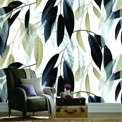 Hanging leaves wallpaper