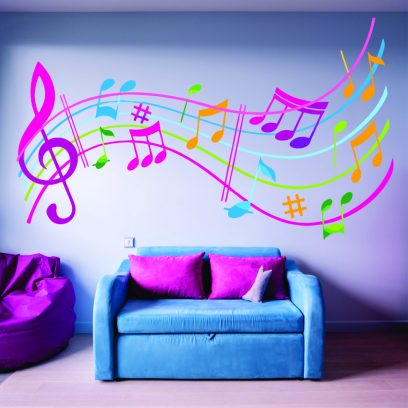 Colourful Musical notes wall art
