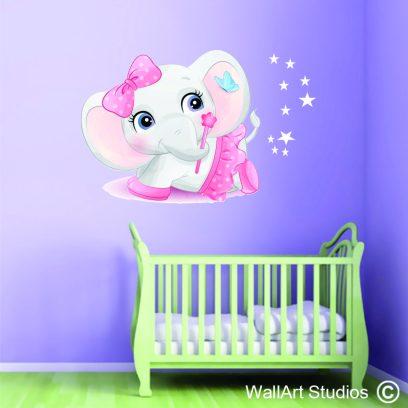 PSN6 Ballerina baby elephant wall sticker