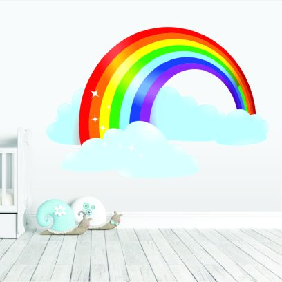 Rainbow with clouds wall sticker