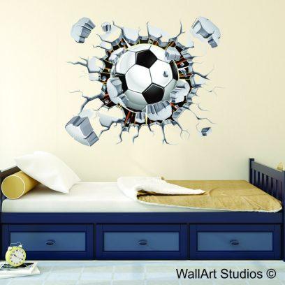 Breaking wall football wall decal